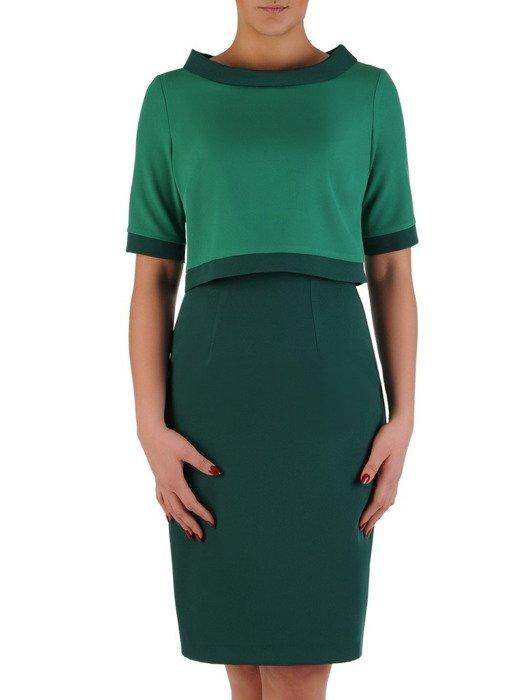 Dwuczęściowy komplet wizytowy 19506, zielona sukienka z krótkim bolerkiem.