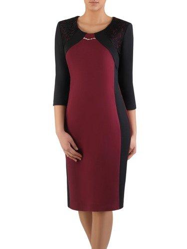 Dwukolorowa sukienka wyszczuplająca 14700, kreacja z koronkowymi wstawkami.