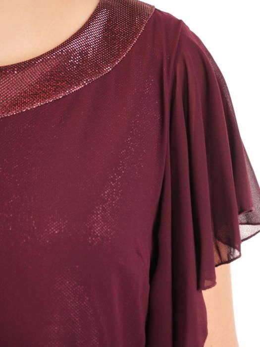 Dwuwarstwowa sukienka wieczorowa z luźnymi rękawami 31256