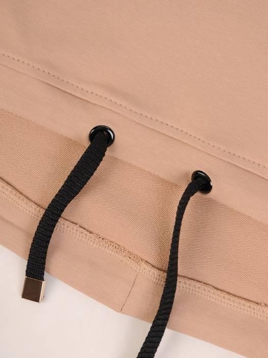 Dzianinowa, beżowa bluzka z napisem 28331