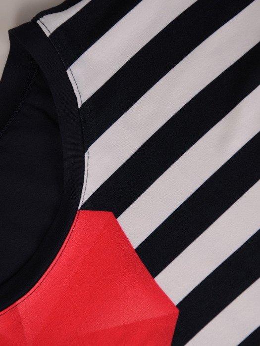 Dzianinowa bluzka w duży, kolorowy wzór 20297