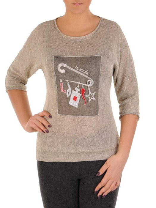 Dzianinowa bluzka z atrakcyjną aplikacją Salomea.