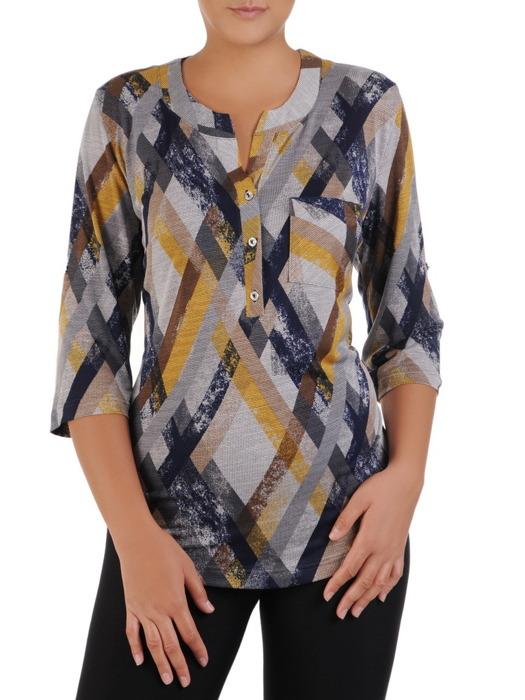 Dzianinowa bluzka z guzikami na dekolcie 22076.