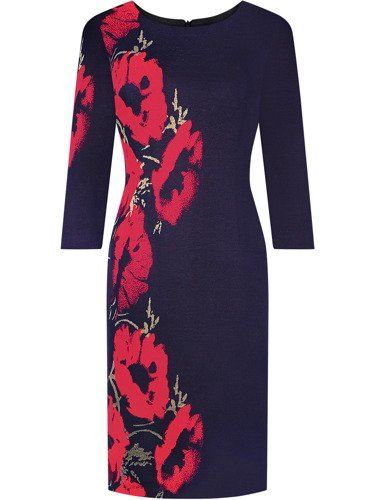 Dzianinowa sukienka w kwiaty Tomira, kreacja z wyszczuplającym wzorem