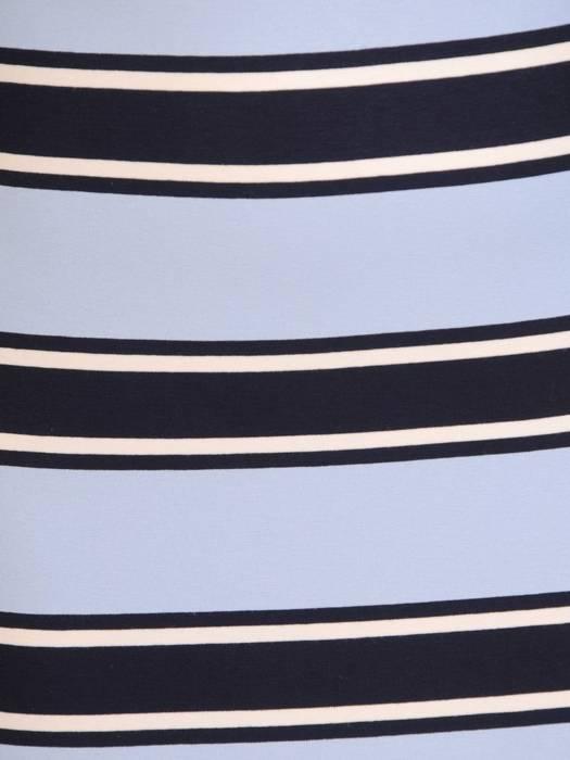 Dzianinowa sukienka w paski z ozdobną falbaną 28292