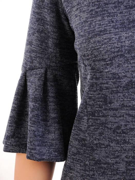 Dzianinowa sukienka z ozdobnymi rękawami i golfem 30811