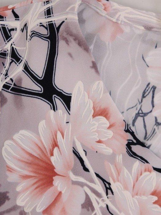 Dzianinowa sukienka z szyfonowymi rękawkami i falbanami 25737