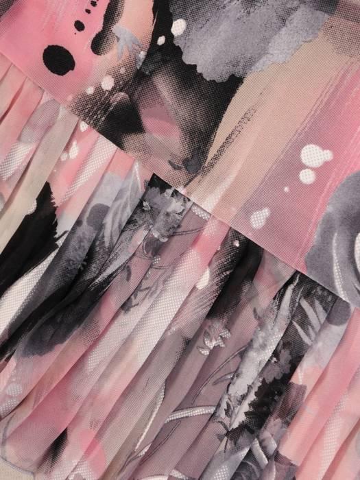 Dzianinowa sukienka z szyfonowymi rękawkami i plisami 29925