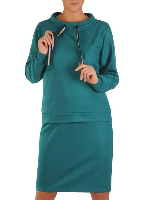 Dzianinowy komplet damski z modnym półgolfem 28227