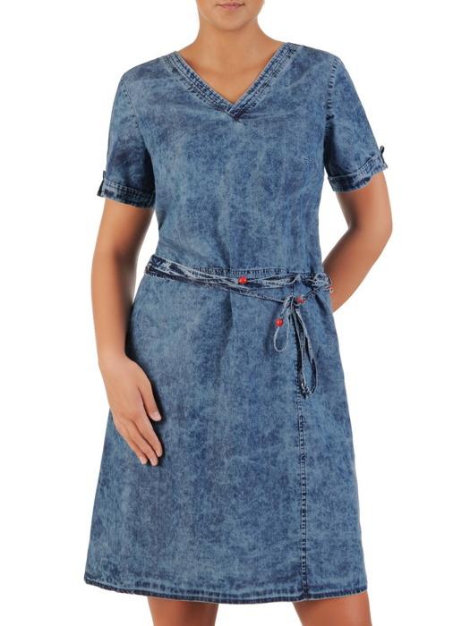 Dżinsowa sukienka z ozdobnym paskiem, kreacja z krótkimi rękawami 21768