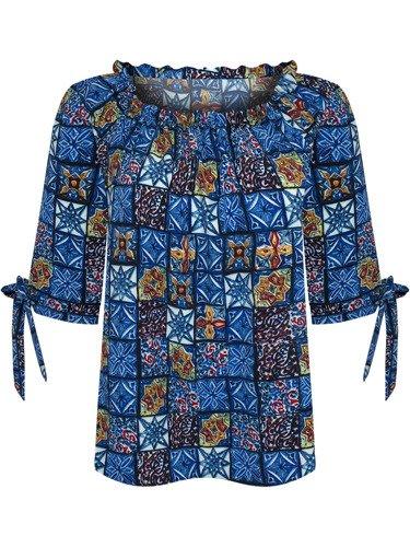 Elegancka bluzka z efektownie pomarszczonym dekoltem 15699.