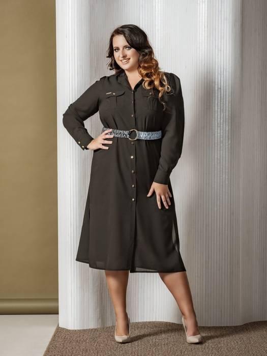 Elegancka czarna sukienka, kreacja z modnym zapięciem i paskiem 27145