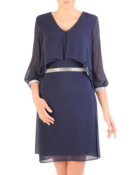 Elegancka granatowa sukienka z ozdobnymi cyrkoniami 29652