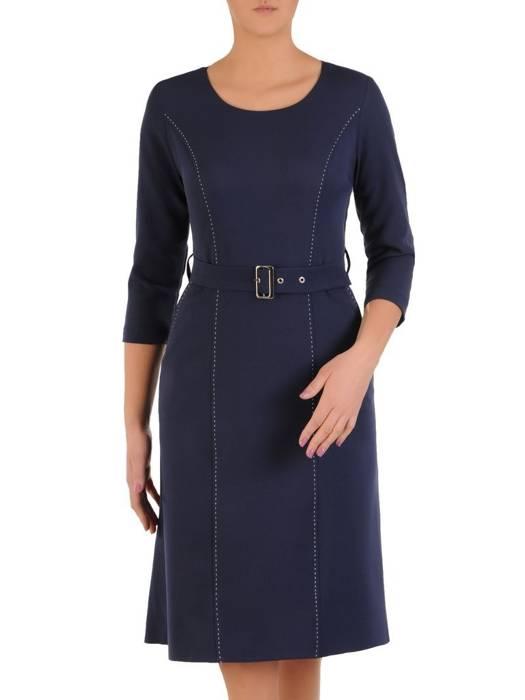 Elegancka granatowa sukienka z przeszyciami 28396