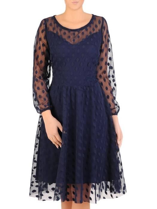 Elegancka granatowa sukienka z tiulu w groszki 27639