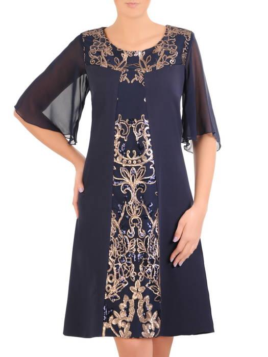 Elegancka granatowa sukienka ze złotymi zdobieniami 30865