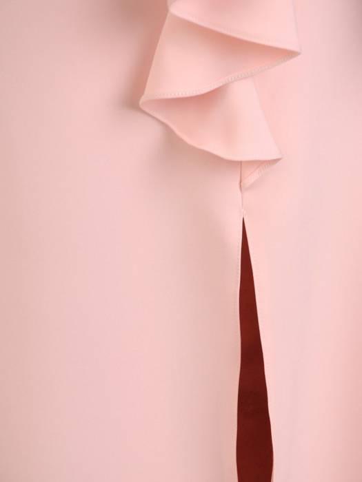 Elegancka pudrowa sukienka z baskinką 28883