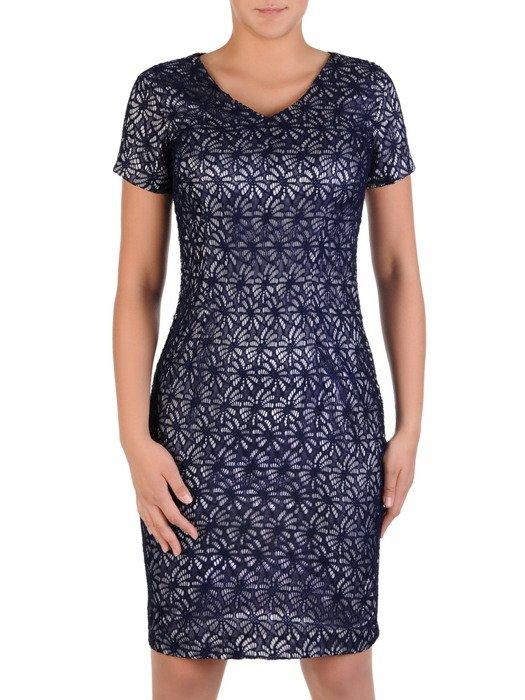 Elegancka sukienka koktajlowa z satyny i koronki Astryda.