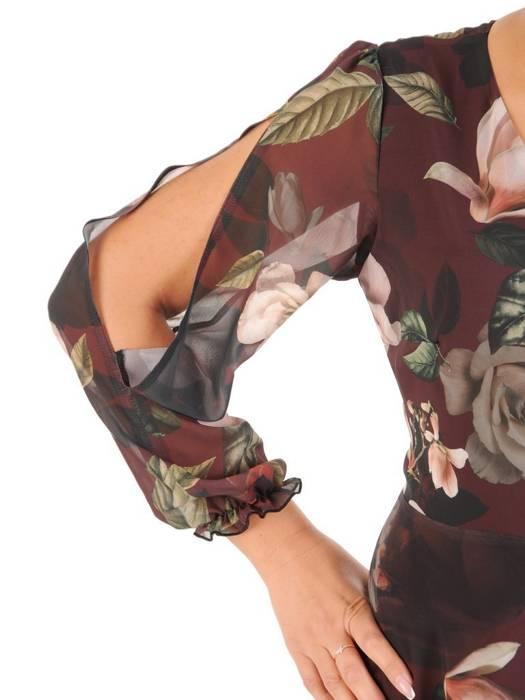 Elegancka sukienka maxi, kreacja z ozdobnymi rozcięciami na rękawach 27153