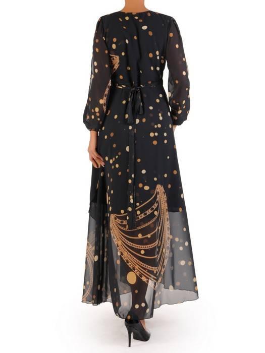 Elegancka sukienka maxi, kreacja z ozdobnymi rozcięciami na rękawach 30015
