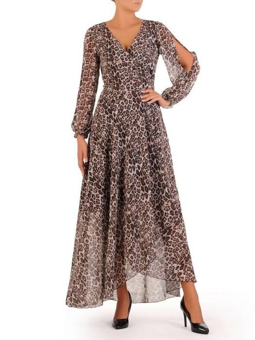 Elegancka sukienka maxi, kreacja z ozdobnymi rozcięciami na rękawach 31237