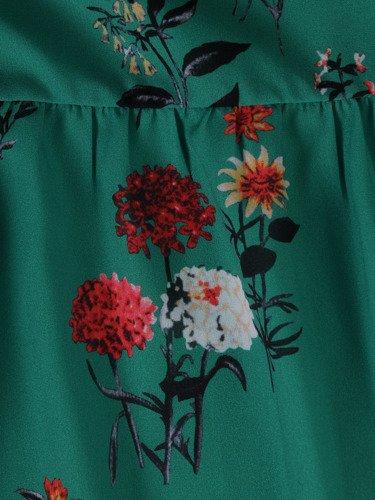 Elegancka sukienka w dziewczęcym fasonie 15673, kreacja w ozdobne kwiatki.