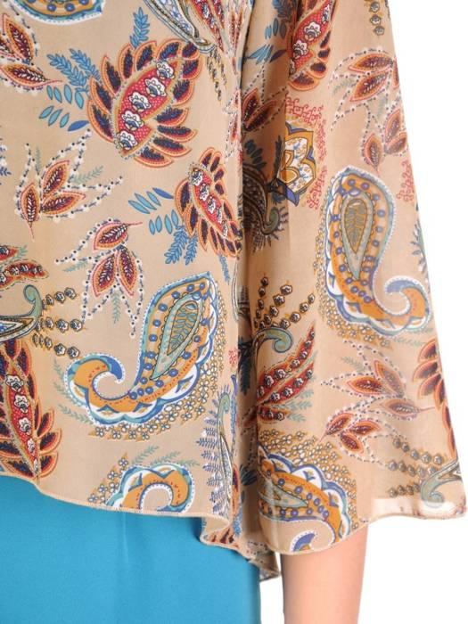 Elegancka sukienka w oryginalny wzór, kreacja maskująca niedoskonałości 29356