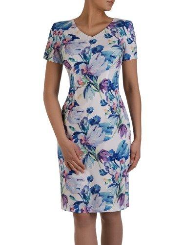 Elegancka sukienka w żywych barwach 16189, wiosenna kreacja z krótkimi rękawami.
