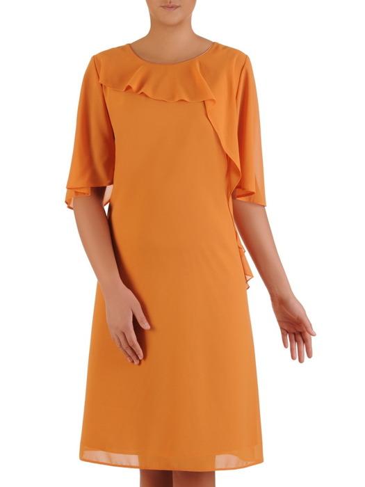 Elegancka sukienka z asymetryczną falbaną przy dekolcie 22958