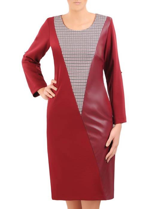Elegancka sukienka z dodatkiem skóry ekologicznej, kreacja wyszczuplająca 30813