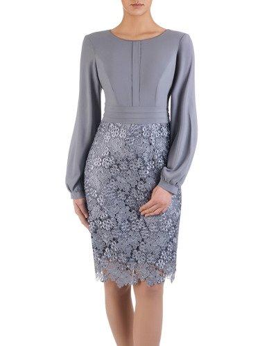 Elegancka sukienka z koronki i szyfonu 14919, kreacja z bufiastymi rękawami.