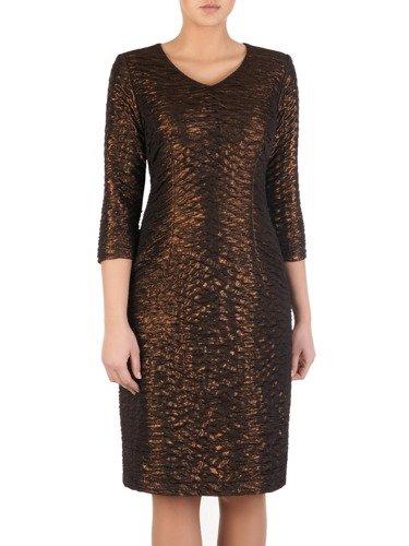 Elegancka sukienka z metalicznej dzianiny Inessa, wieczorowa kreacja z połyskiem.