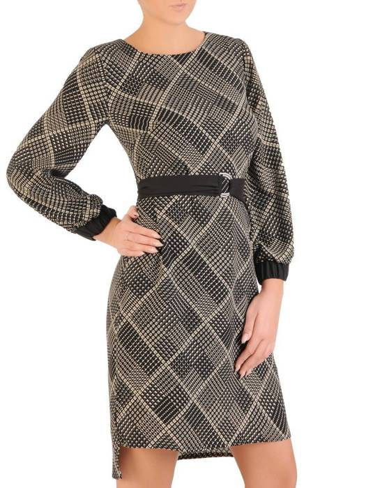 Elegancka sukienka z paskiem i gumkami na rękawach 27915