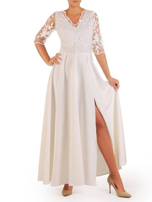 Elegancka suknia z koronkowym topem, jasna kreacja maksi 26869