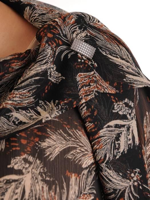 Elegancki komplet damski, beżowa sukienka z szyfonową bluzką 28866