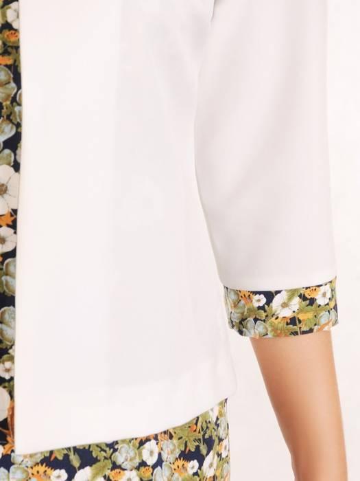 Elegancki komplet, wzorzysta sukienka z gładkim żakietem 30167