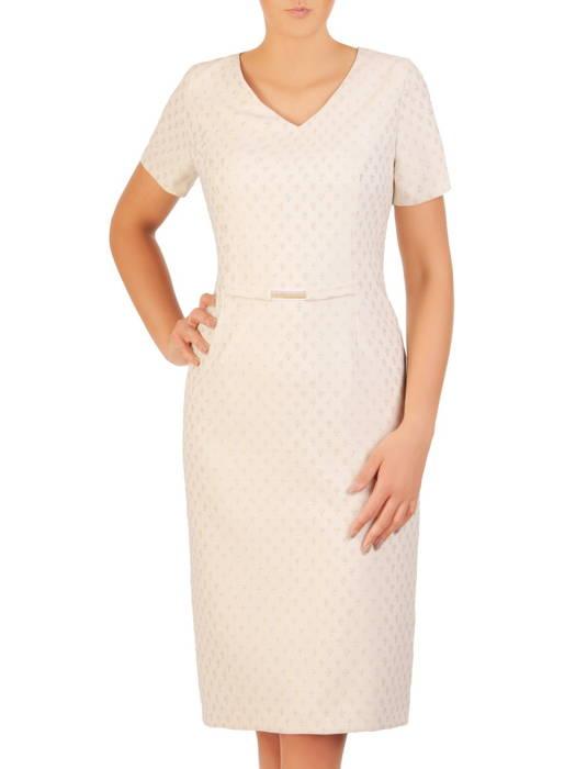 Elegancki kostium z połyskującej tkaniny w oryginalny wzór 30605