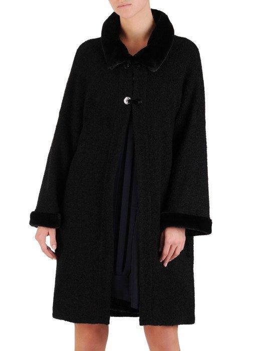 Elegancki płaszcz z czarnej wełny 18564.