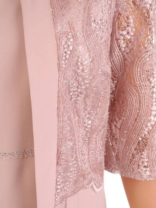 Elegancki pudrowy komplet, prosta sukienka z koronkowym żakietem 30414