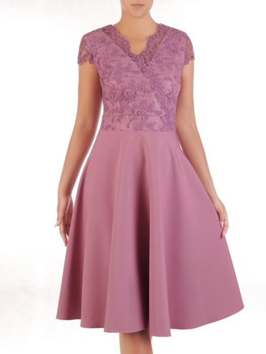Fioletowa sukienka na wesele, piękna kreacja z koronkowym topem 20986