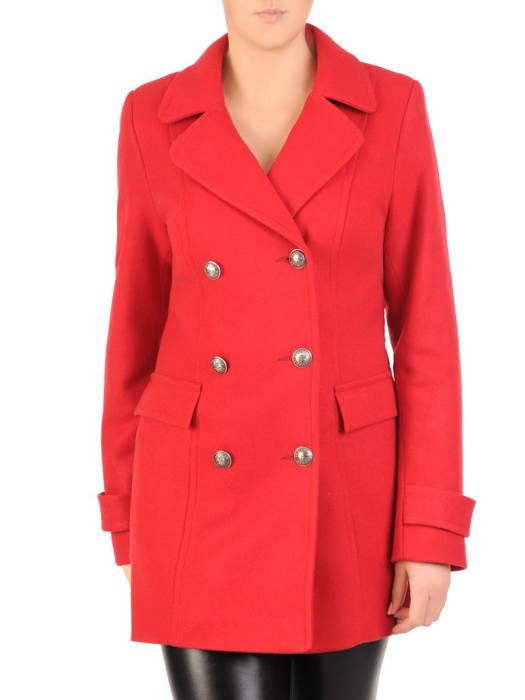 Flauszowy, czerwony płaszczyk damski z ozdobnymi guzikami 30759