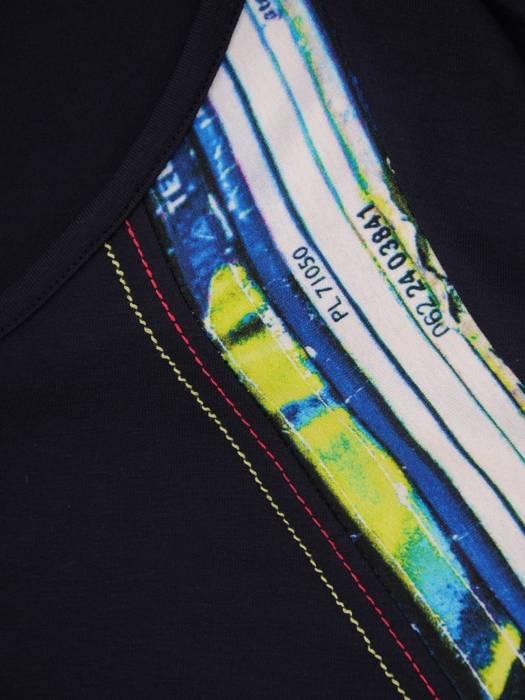 Granatowa bluzka z ozdobnymi wstawkami 26459