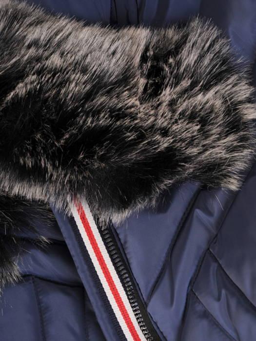 Granatowa kurtka z pikowanej tkaniny z ozdobnym kapturem 31102
