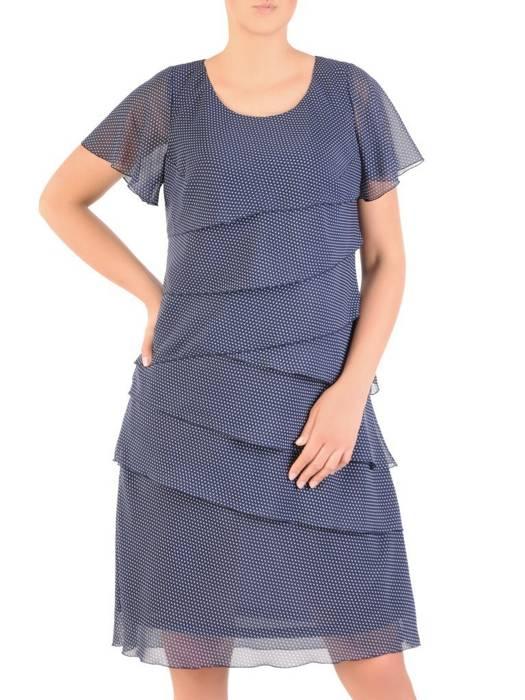 Granatowa sukienka w groszki, wielowarstwowa kreacja z szyfonu 30126