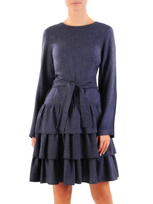 Granatowa sukienka z falbanami i wiązaniem podkreślającym talię 30351