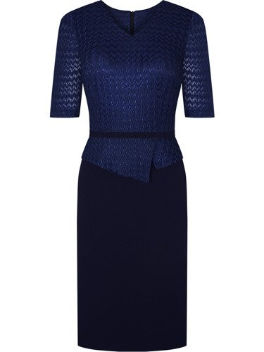 Granatowa sukienka z połyskiem Grażyna, elegancka kreacja z baskinką.