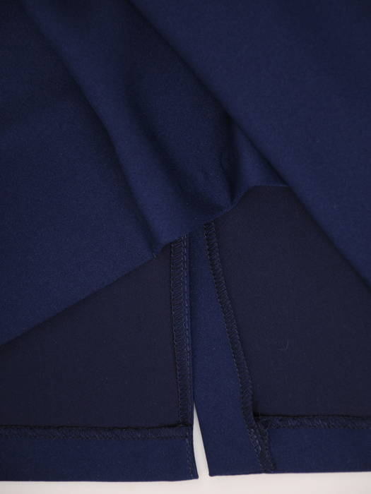 Granatowa sukienka ze zbluzowaną, szyfonową górą 30724