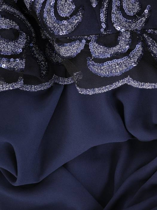 Granatowa suknia wieczorowa z koronkowym topem, kreacja maxi 30510