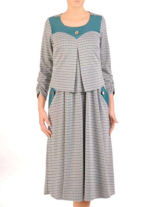 Jesienna sukienka wyszczuplająca z ozdobną kontrafałdą 30722