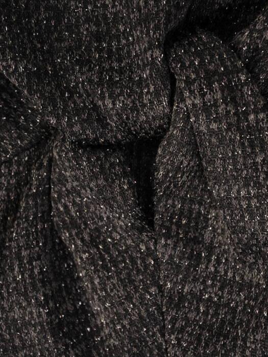 Jesienna sukienka z melanżowej dzianiny z ozdobną zakładką w pasie 31181